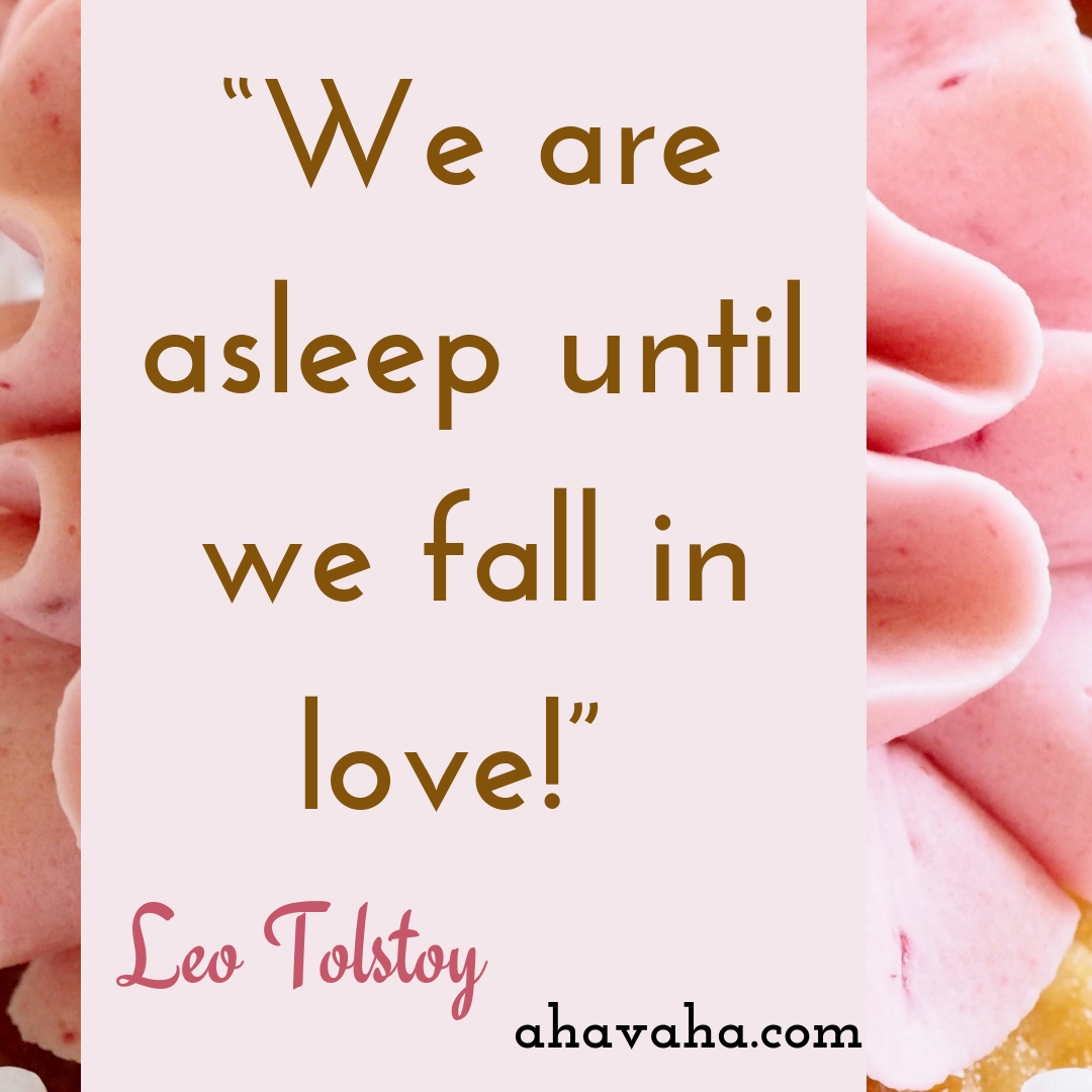 We are asleep until we fall in love! - Leo Tolstoy Quote Social Media Square Image
