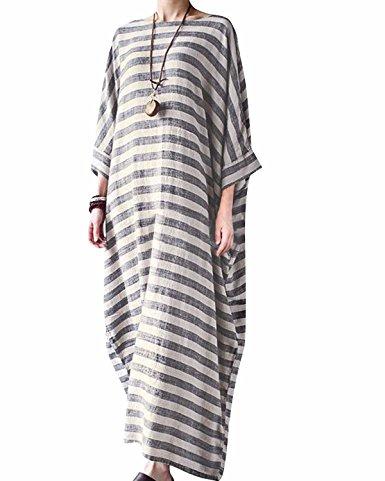 Bohistyle Women Summer Plus Size Striped Batwing Linen Cotton Loose Kaftan Casual Dress