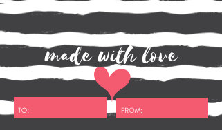 30 Gift, Present Tags For Happy Holidays With Love White Stripes