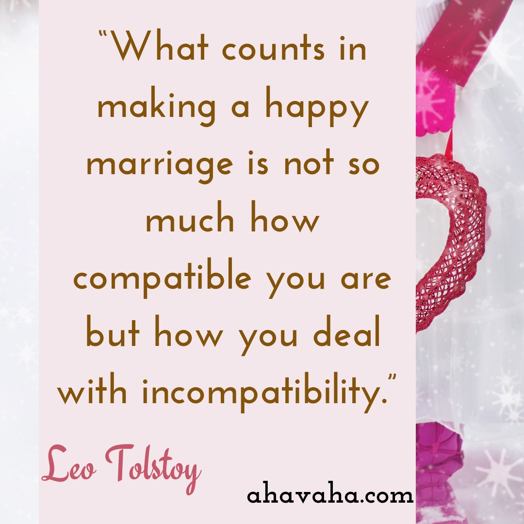 What counts in making a happy marriage is not so much how compatible you are but how you deal with incompatibility - Leo Tolstoy Quote Social Media Square Image