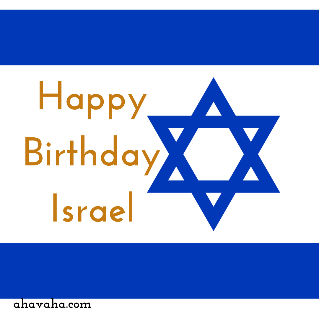 Happy Birthday Israel Blue Gold - Square Greeting Card