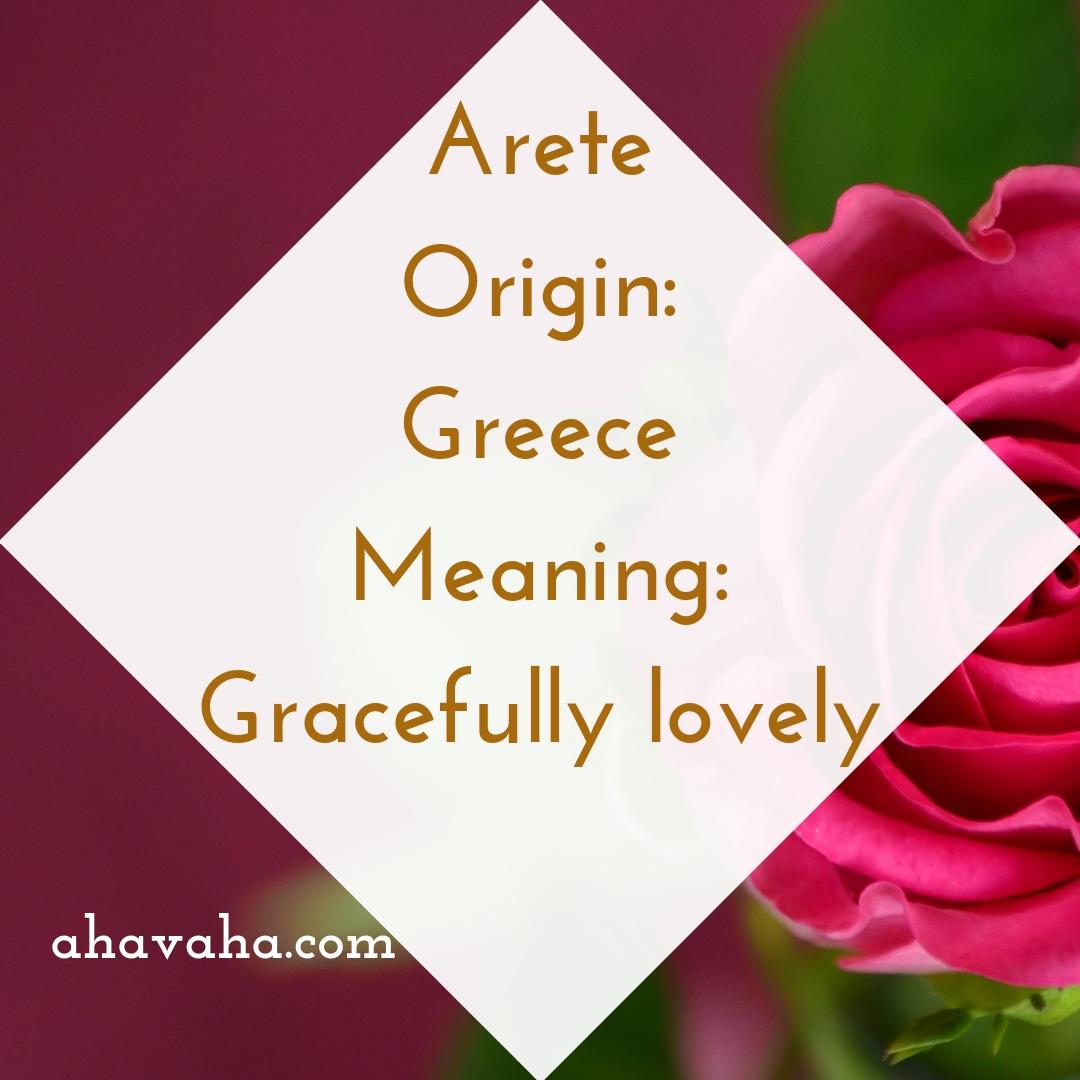 Arete - Origin - Greece Meaning - Gracefully lovely - Female Names Based On Love Social Media Square Image